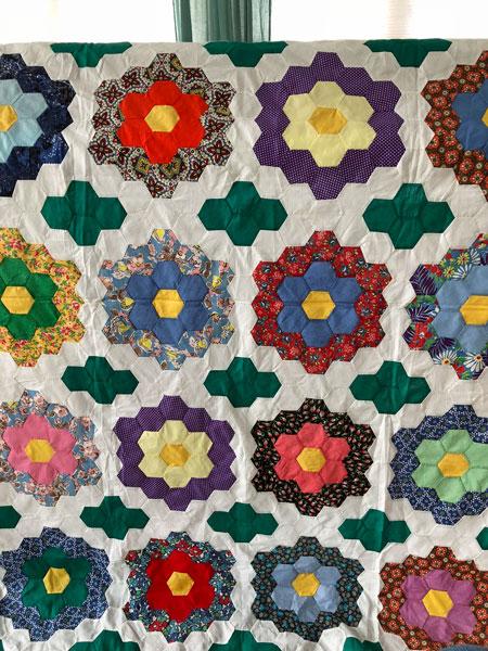 Grandmothers Flower Garden Hexie Quilt