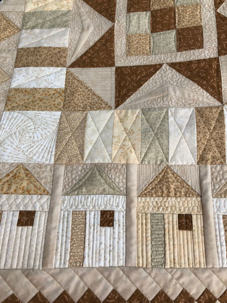 Tiny house blocks custom quilted