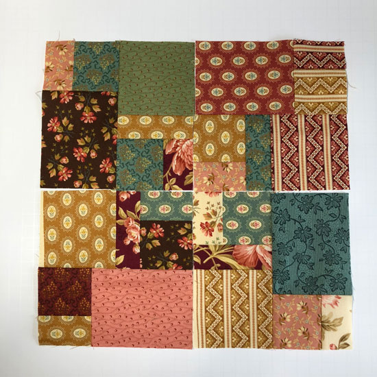 Scrambled block in Crystal Farms fabric