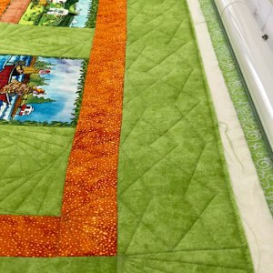 Ruler work on Borders of quilt