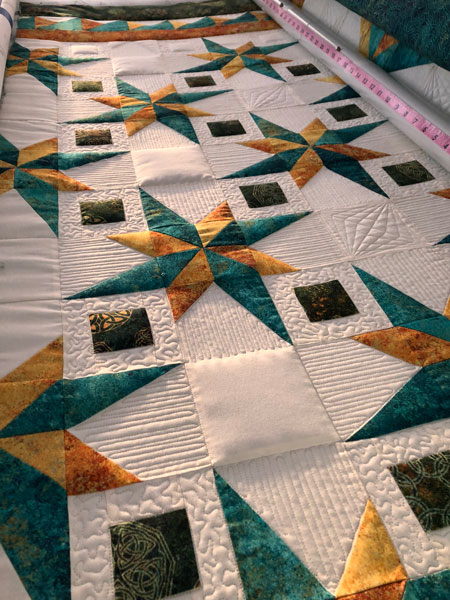 Ruler work and FMQ by Beth Sellers of Cooking Up Quilts