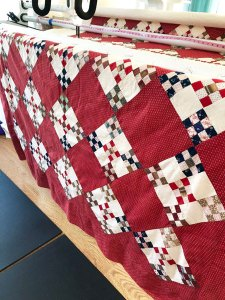 Nine Patch Hand Pieced Quilt