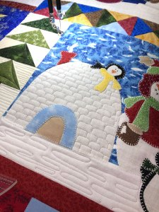 Let it Snow wall hanging quilted by Beth Sellers of Cooking Up Quilts