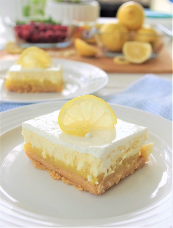 Lemon Sour Cream Cheesecake Dessert Bars with Lemon Oreo Crust - Easy Layered Treats Recipe