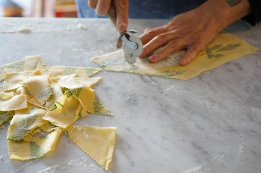 Cutting the dough into mis-matched strips
