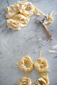 Tagliatelle waiting their turn for the pot..