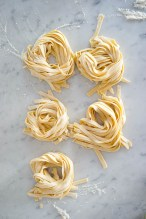 Nests of tagliatelle, ready to cook