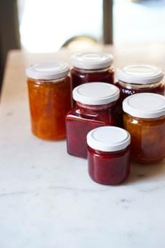 A mixture of fruit jams