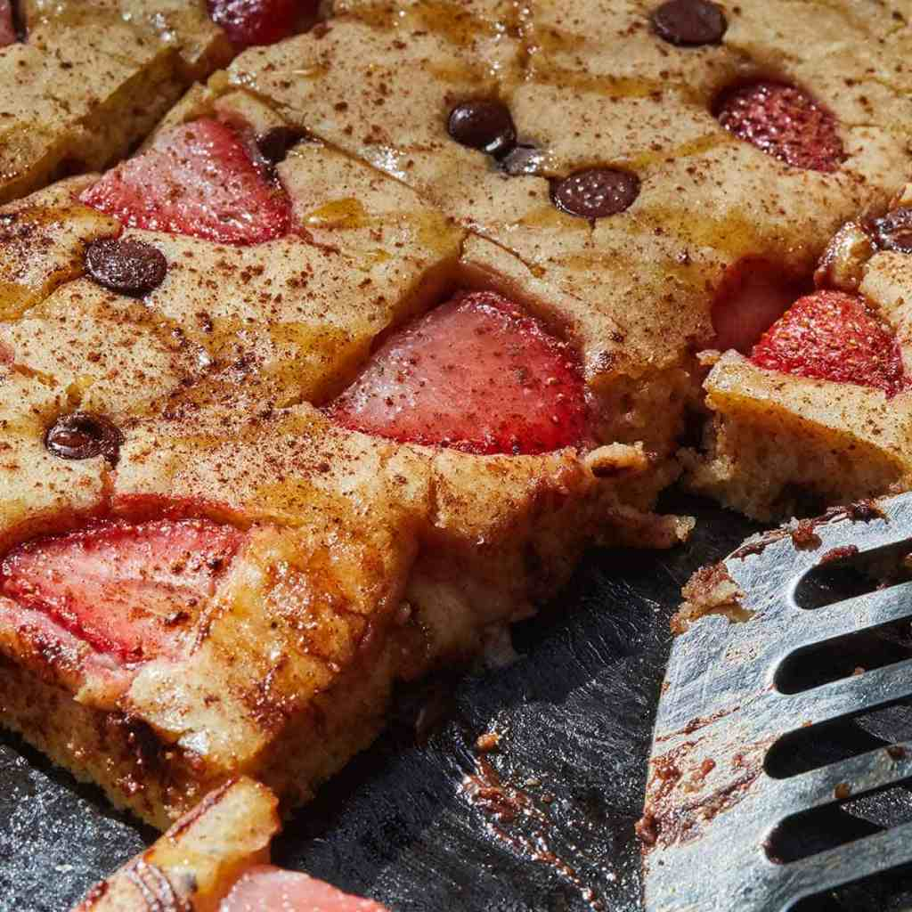 Strawberry and Chocolate Sheet Pan Pancakes