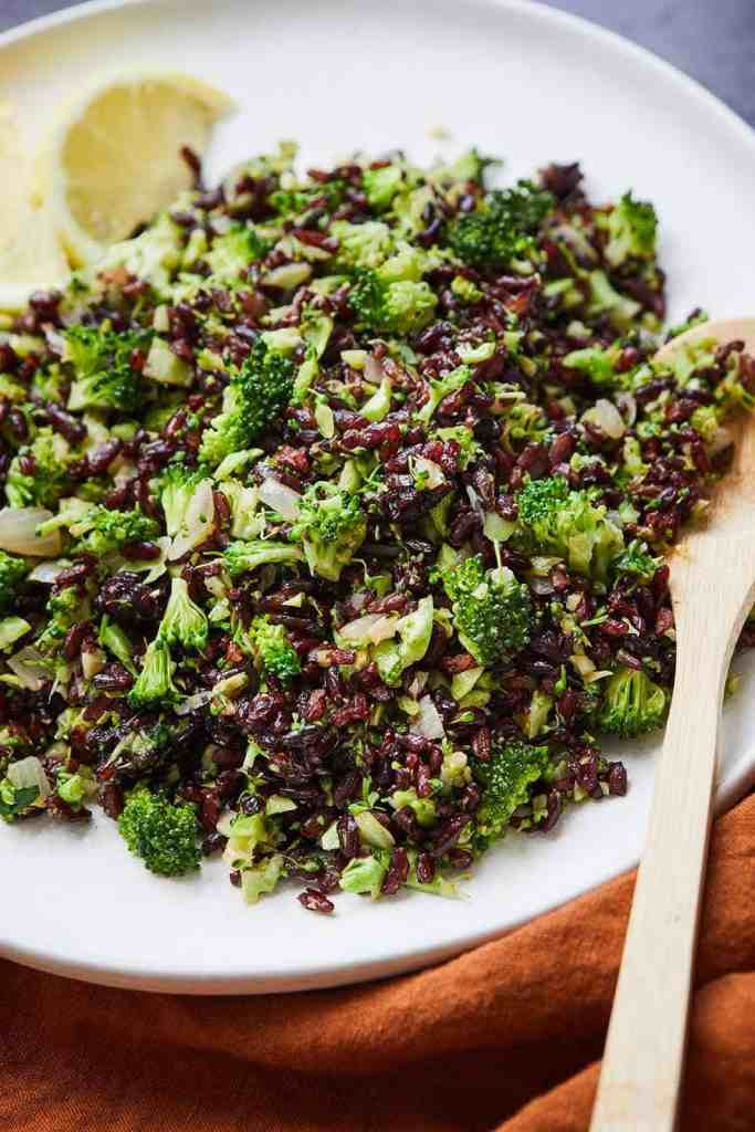 Skillet Broccoli Black Rice