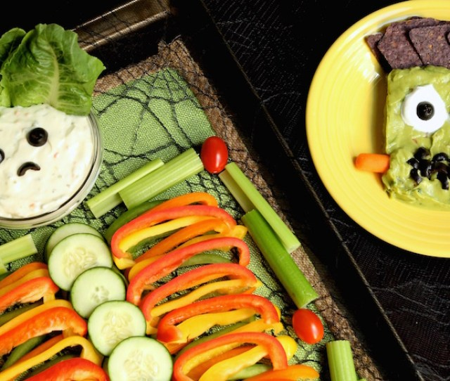 Halloween Skeleton Veggie Tray Frankenstein Guacamole Recipe