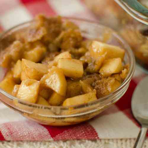 Warm and comforting Apple Crisp done in MINUTES! The perfect treat to end any meal.