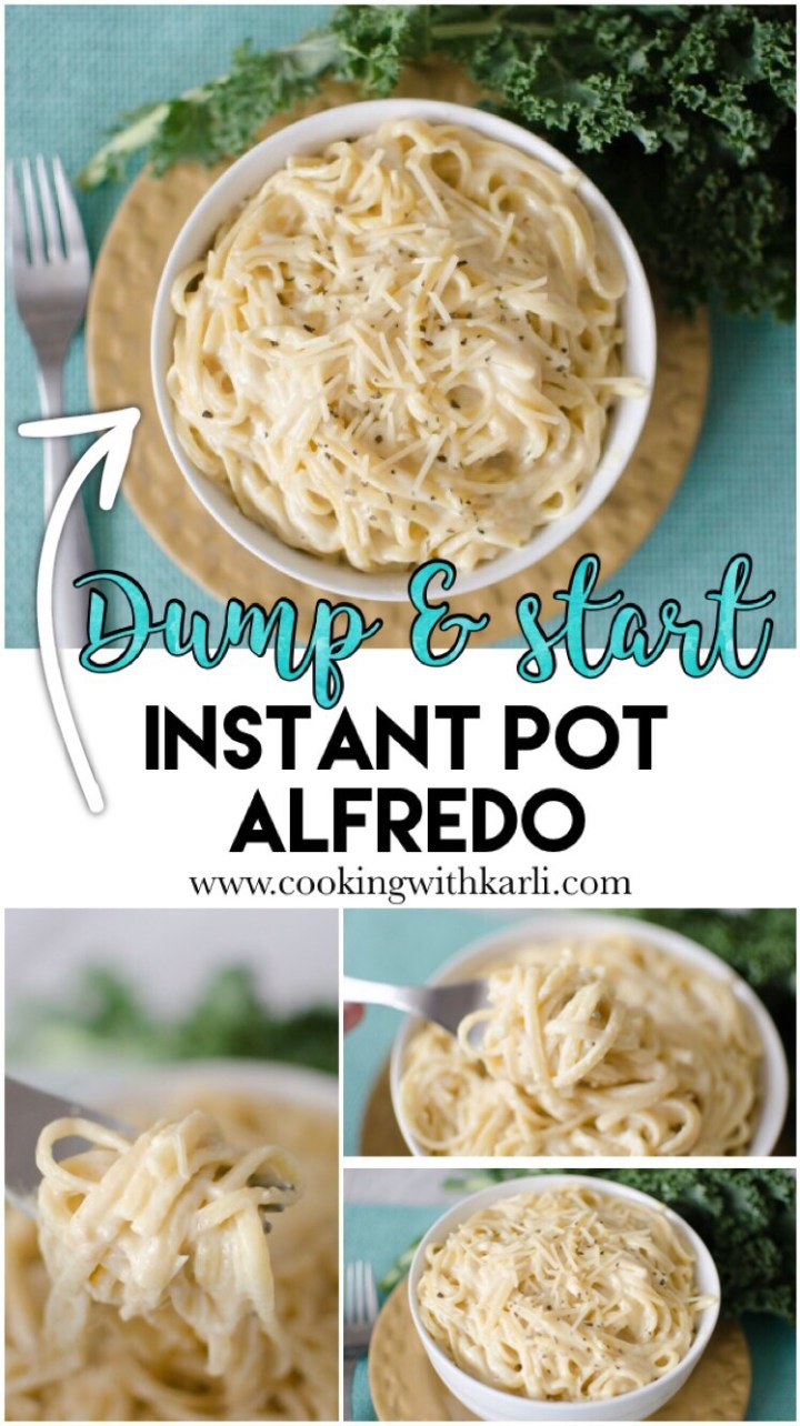 Instant Pot Dump and Start Alfredo made completely from scratch in under 20 minutes! This rich, creamy & dreamy meal is picky eater and kid friendly- making this meal a no-brainer!