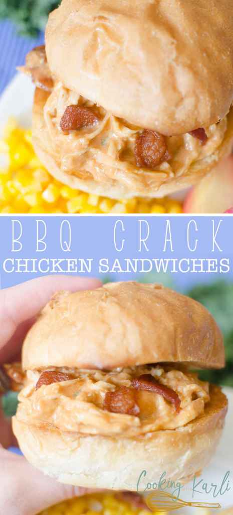 Instant Pot BBQ Crack Chicken Sandwiches are a smokey, savory twist on the original Crack Chicken. You still have the cream cheese, ranch, chicken, bacon and shredded cheese but adding in BBQ sauce really takes this up a notch!