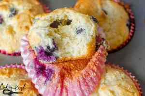 Pancake Mix Blueberry Muffins are made from pancake mix, sugar, butter, milk, an egg and fresh blueberries. This recipe is totally Kid Cook Friendly and makes a super tasty snack!