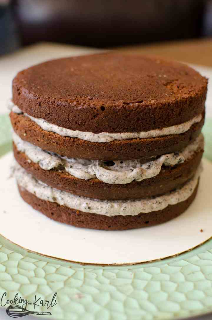 Oreo frosting is perfect to go onto chocolate layered cake.
