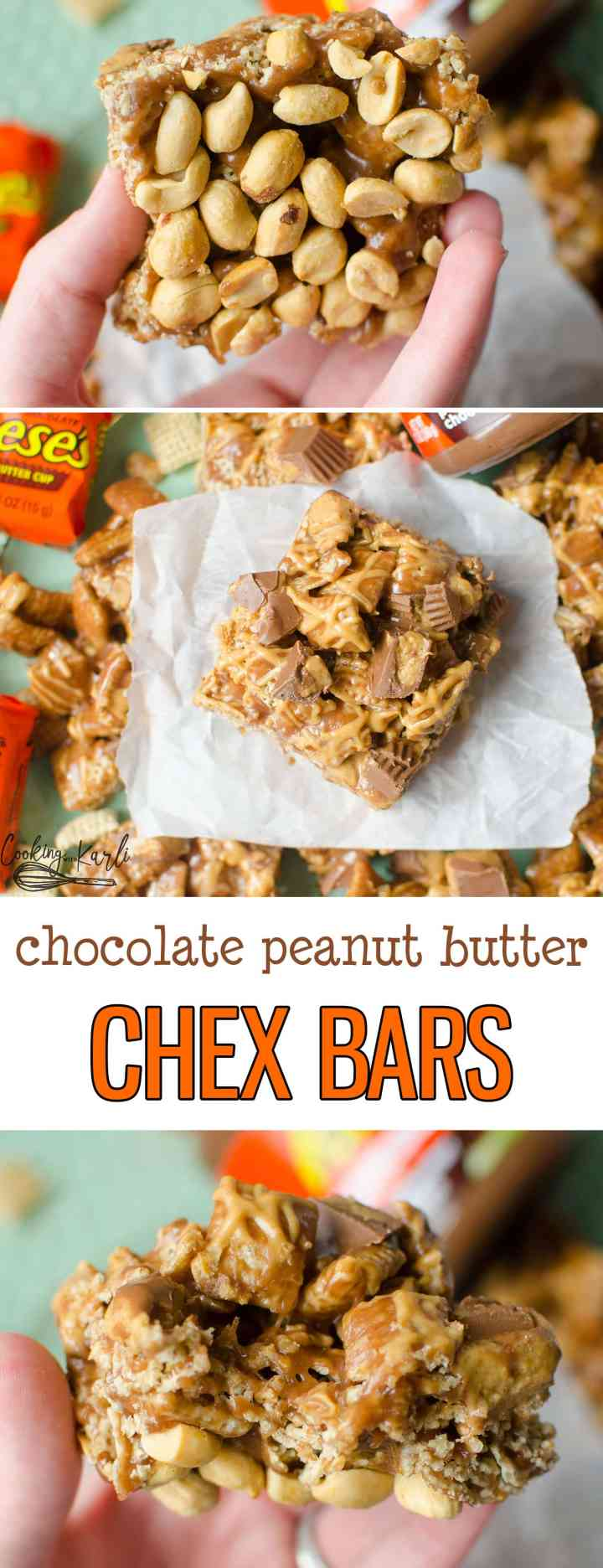 Chocolate Peanut Butter Chex Bars are fully loaded with Reese's Peanut Butter Chocolate Spread, Reese's Peanut Butter Cups, peanut butter drizzle, Chex Cereal and a peanut covered bottom. Any Peanut Butter and Chocolate lover will be in heaven with these! |Cooking with Karli| #chocolate #peanutbutter #chex #cerealbar #dessert #reese's #spreads #dessert #recipe