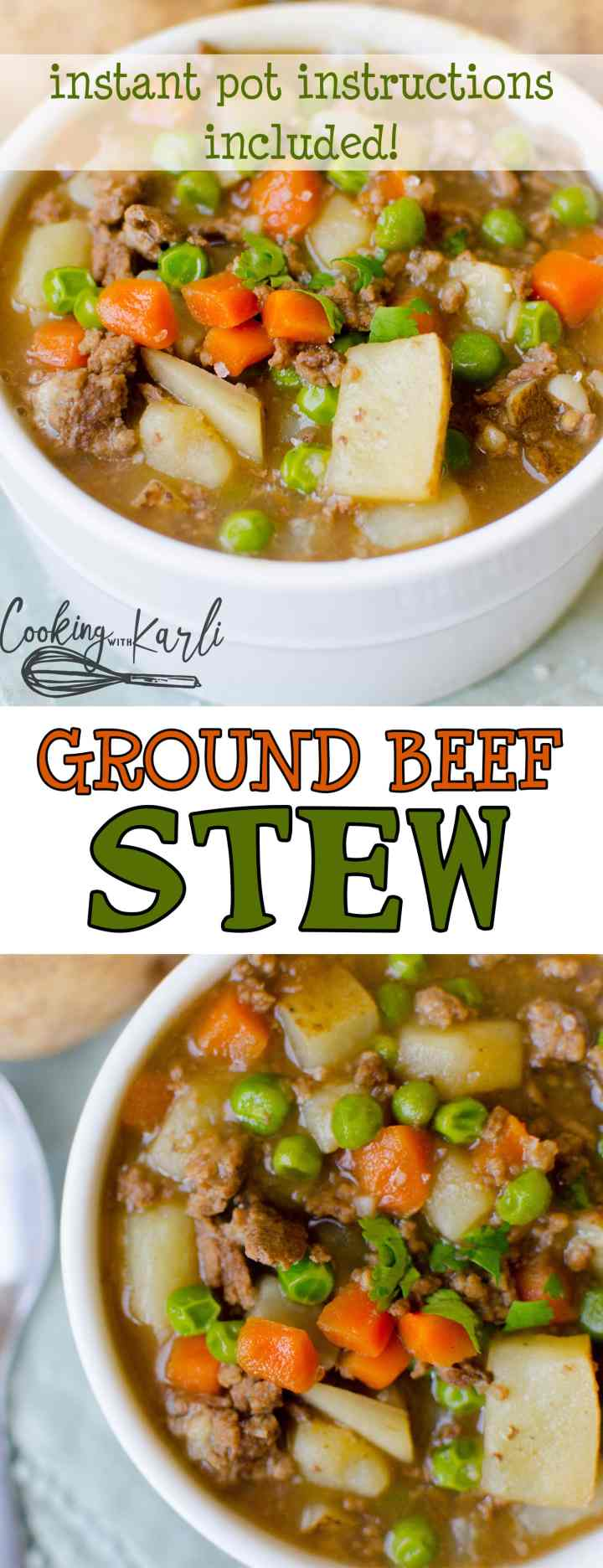 Ground Beef Stew is a thick and creamy gravy with ground beef, potatoes, peas and carrots. Making this in the Instant Pot makes this stew fastandeasy! Pair this stew with a crusty dinner roll and you've got yourself one hearty meal! |Cooking with Karli| #instantpot #groundbeef #stew #recipe #dinner #maindish #hearty