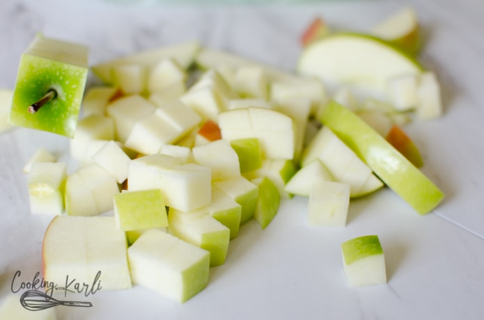 Granny Smith Apples chopped up for the caramel apple salad.