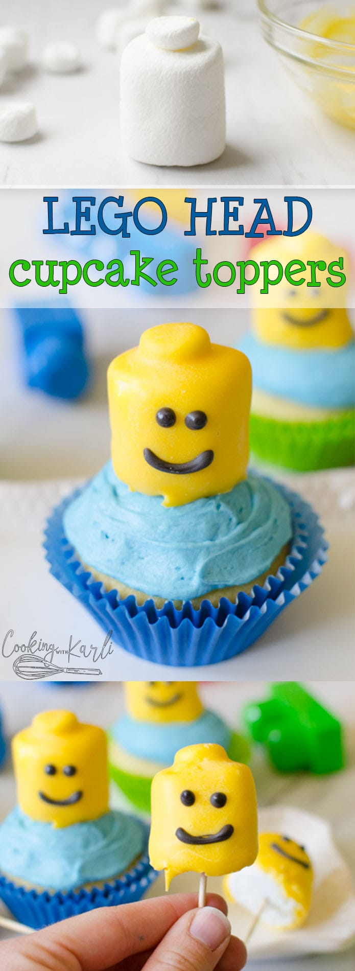 Lego Themed Birthday Cupcakes are super cute and so easy to make! The Lego Heads are made from Marshmallows and Chocolate Candy Melts and then are stuck into a cupcake using a toothpick. This is a fast and easy way to make themed birthday cupcakes. |Cooking with Karli| #legos #birthday #cupcakes #cake #themed #boy #5yearold #legohead #diy #easy