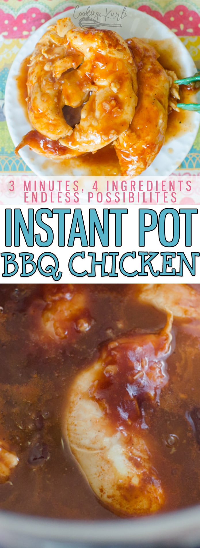 Instant Pot BBQ Chicken is so tender, juicy and full of barbecue flavor. Using Chicken Tenders or Breasts, this BBQ Chicken is extremely versatile. Perfect pulled, sliced or served whole! BBQ Chicken is a perfect, quick weeknight meal that everyone in the family will love! Great all year too, it is just as much of a winter dinner as it is a summer meal. |Cooking with Karli| #instantpot #pressurecooker #recipe #bbq #barbecue #chicken #kid-friendly #easy #fast