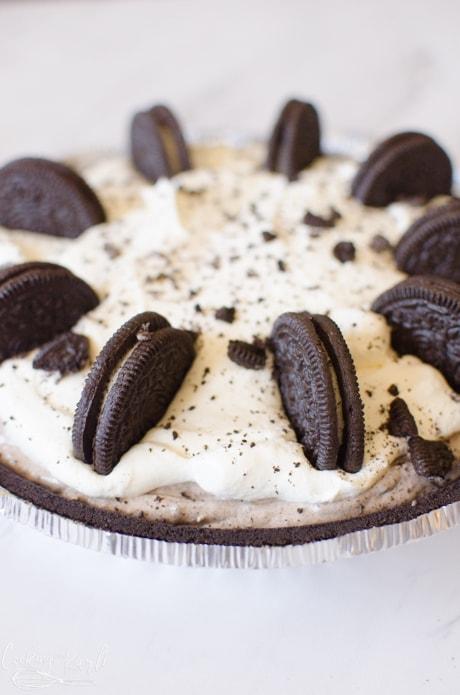 The finished Oreo no bake pie