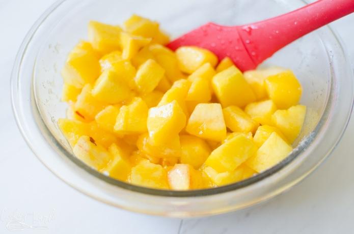 Cubed peaches