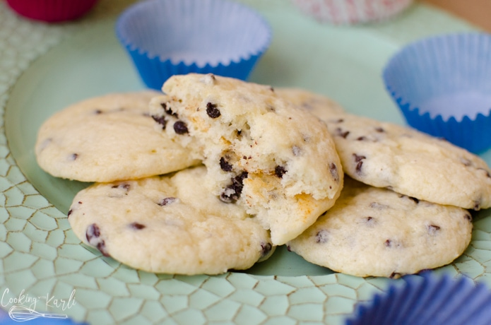 chocolate chip muffin tops are light and fluffy after baking.