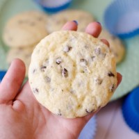Muffin tops are a light and fluffy muffin-like cookie full of chocolate chips.