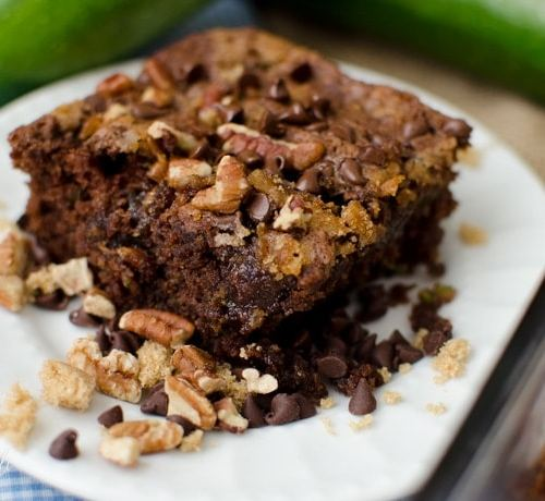 Chocolate zucchini cake made with cinnamon and chocolate chips