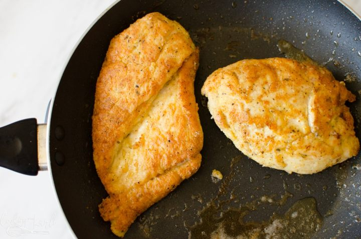 Browned breaded chicken breasts