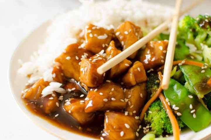 teriyaki chicken bowl with rice and veggies