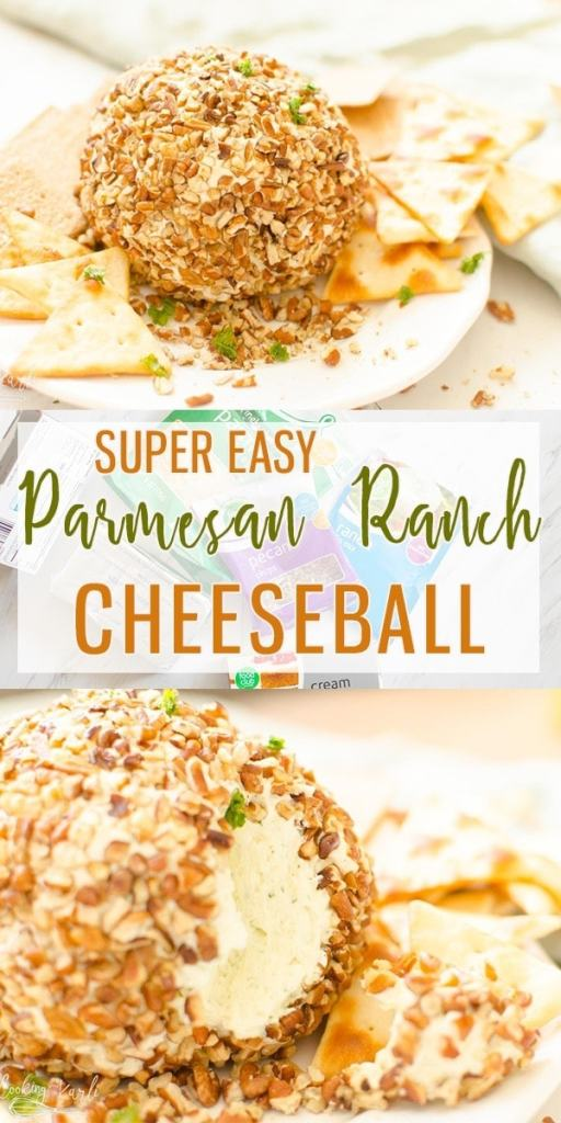 Parmesan Ranch Cheeseball is a flavor packed, easy cheeseball that is perfect for tailgating, snacking or an awesome appetizer. |Cooking with Karli| #cheeseball #appetizer #ranch #parmesan #easy #recipe