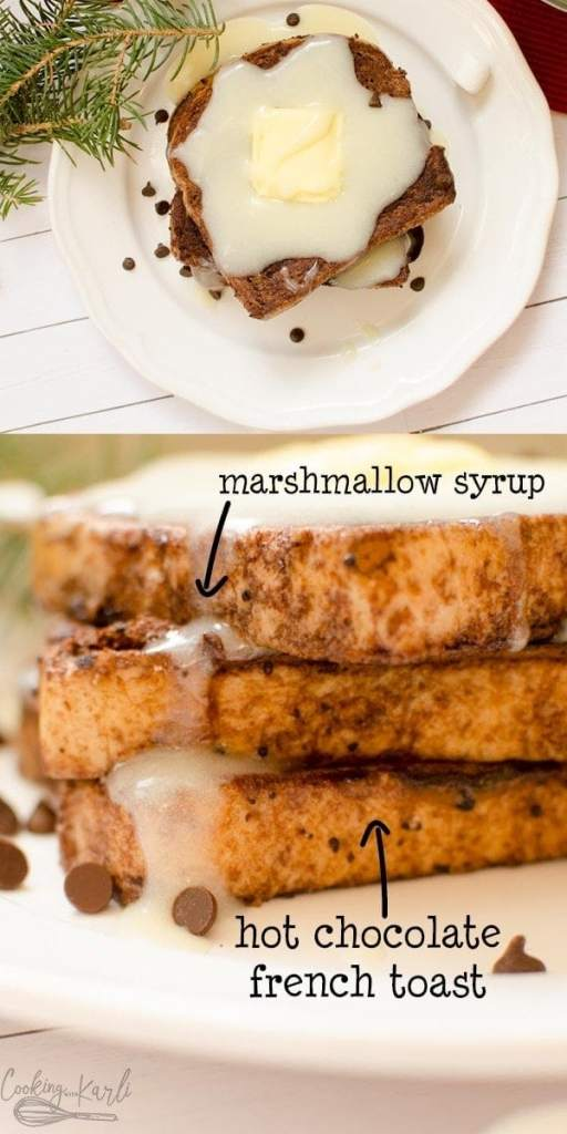 Hot Chocolate French Toast with Marshmallow Syrup is a rich, deep chocolate flavored French toast covered with a homemade white vanilla marshmallow syrup. The addition of cocoa and hot chocolate powder to the egg wash takes this French Toast to the next level! The Syrup is the perfect pair to the rich French Toast. Perfect Christmas morning breakfast! |Cooking with Karli| #frenchtoast #hotcocoa #hotchocolate #christmas #breakfast #dessert