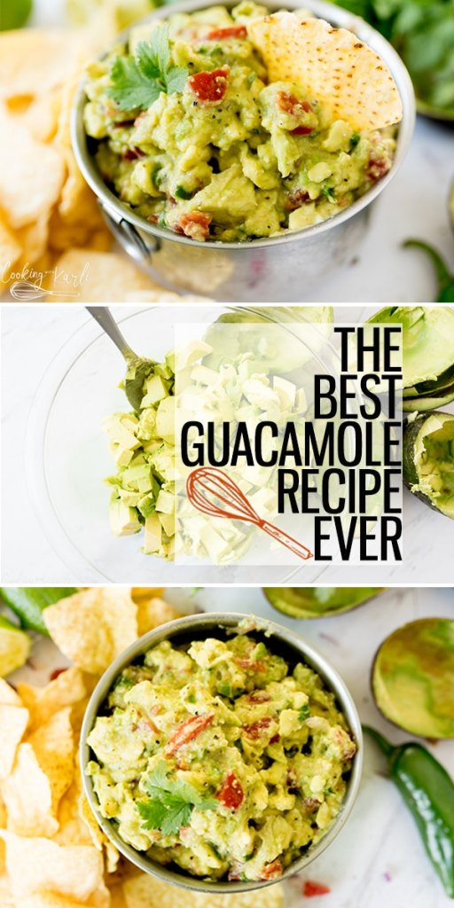 Best Guacamole Recipe is a fast and easy chunky chip dip made with fresh ingredients. Avocados, tomatoes, onion, jalapeño, cilantro, lime juice.. So fresh and so good! This will quickly become your favorite Avocado Dip Recipe!  |Cooking with Karli| #guacamole #recipe #avocado #fresh #easy #fast #dip #chipdip #party #appetizer