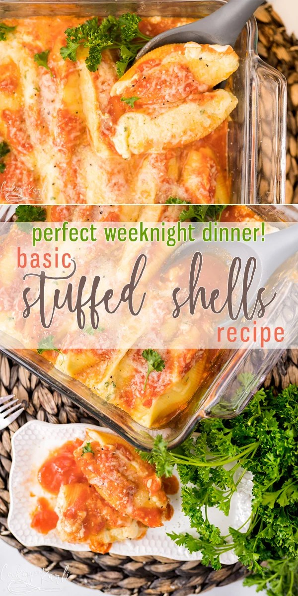 Stuffed Shells Recipe is an easy yet fancy dinner recipe. The Jumbo Pasta Shells are stuffed with a simple mixture of cottage cheese, parmesan cheese, parsley, salt and pepper and an egg. Covered with red pasta sauce and baked to perfection, your family will love this meal! |Cooking with Karli| #stuffedshells #recipe #easy #cottagecheese #redsauce #pasta #nomeat #instantpot