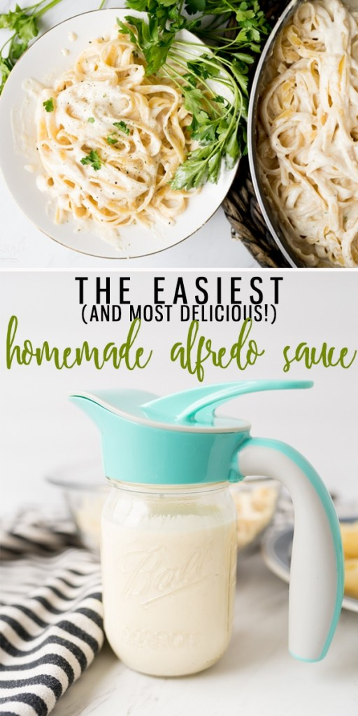 This Alfredo Sauce Recipe is so fast and easy! Made from a little bit of butter, minced garlic, cream, parmesan cheese and seasonings, it couldn't be more simple! Don't love the heavy cream? I have a slimmed down version for you down below! |Cooking with Karli| #alfredo #homemade #cream #parmesancheese #easy #recipe #fast