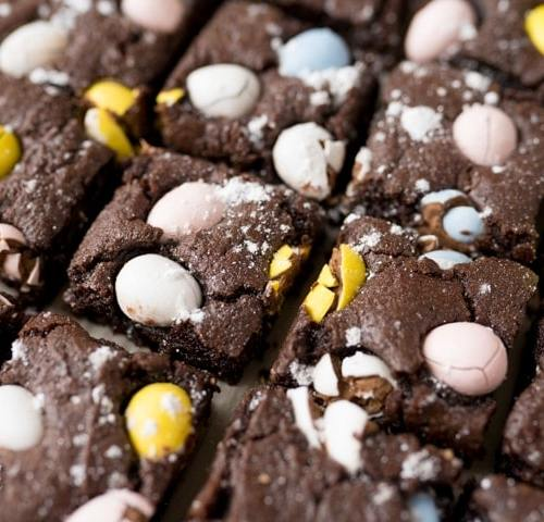 easter brownies with mini eggs
