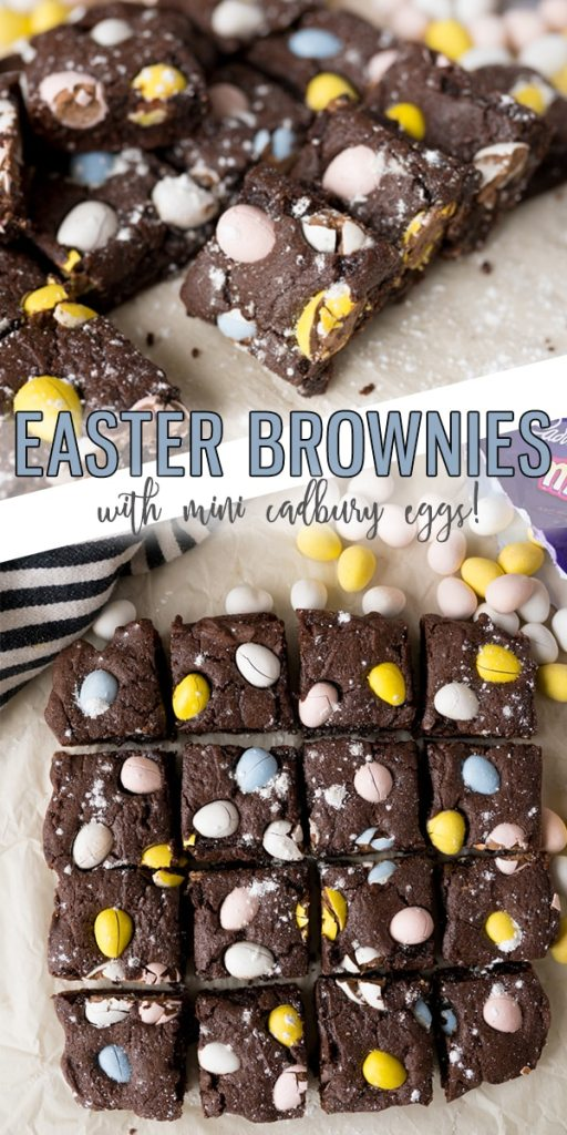 Easter Brownies are a homemade brownie topped with Cadbury Mini Eggs making this one of the easiest Easter Desserts you could make! Your family will LOVE these fudgey and festive brownies.  Cooking with Karli  #easter #brownies #easterdessert #dessert #brownies #cadburyeggs #minieggs #recipe