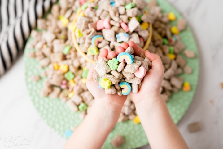 muddy buddies with lucky charms, being eaten.