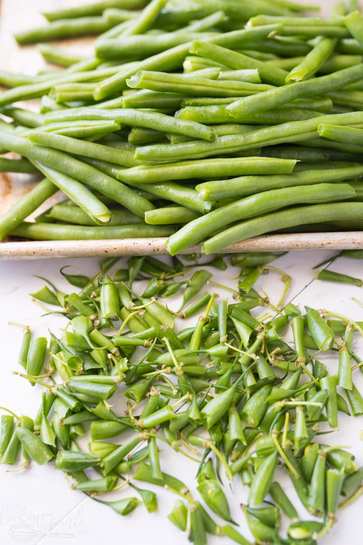 green beans washed and prepped for roasting