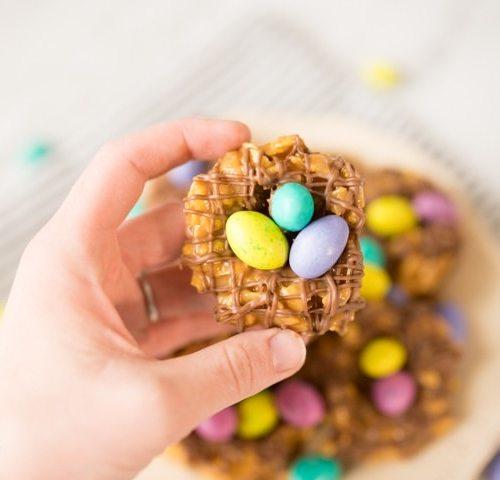 bird's nest cookies with peanut butter