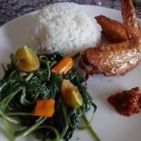Stirfry Kankung Terasi with Chicken Wing Karage