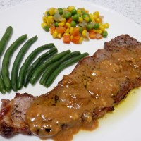 Pan Fried Steak with Honey Mustard Sauce