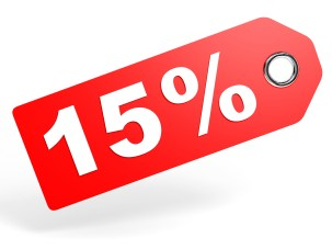 15 Percent Red Discount Tag On White Background.