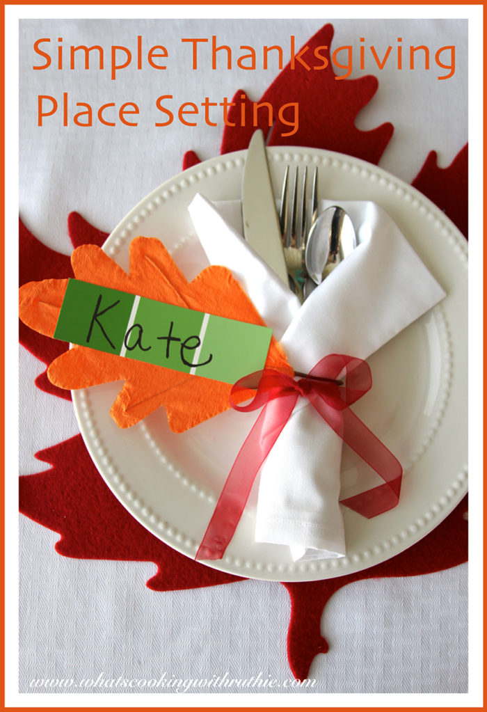 Simple Thanksgiving Place Setting  Cooking With Ruthie