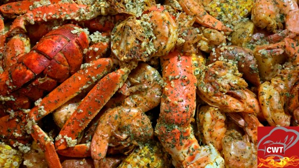 Seafood Boil Oven Recipe! King Cab Legs, Snow Crab, Jumbo Shrimp, Sausage, Corn And Potatoes. Seafood Boil Foil Packet can be placed in the oven or grill.