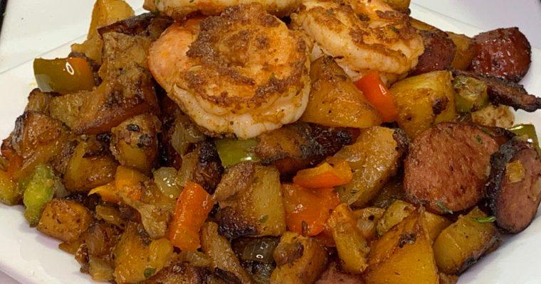 Shrimp Sausage Potato Skillet