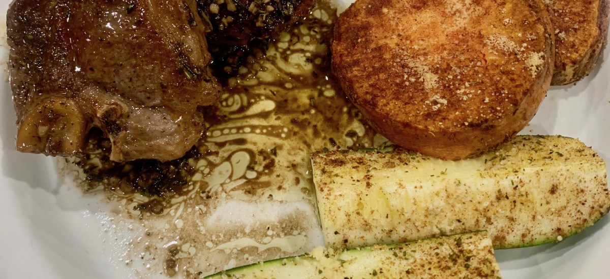 Lamb Loin Chops in a Rosemary Cognac Butter Sauce.