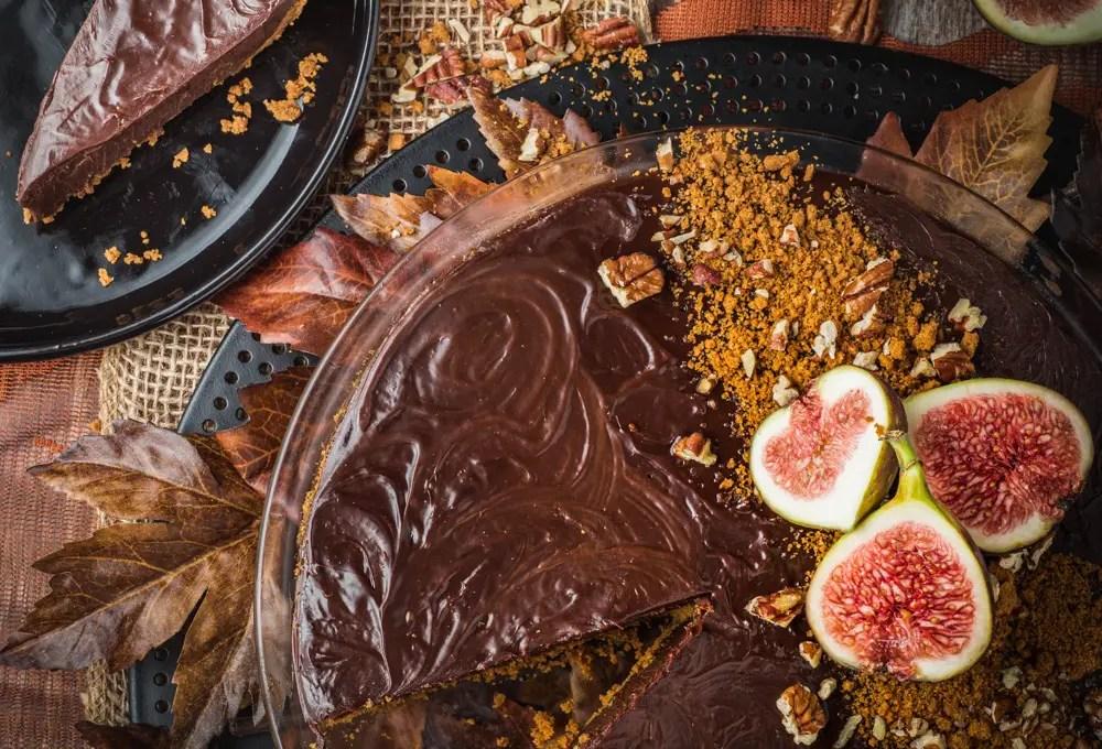 Spiced Chocolate Ganache Tart with Biscoff Cookie Crust